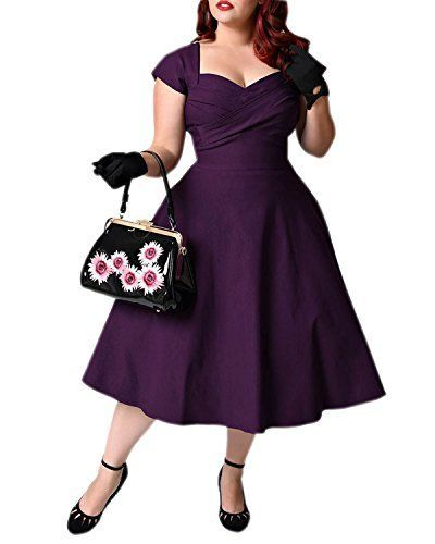 BIUBIU Women's 50s Plus Size Vintage Swing Dress