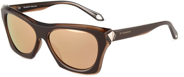 Givenchy Faceted Plastic Rectangle Sunglasses, Brown/Gold - $99.50