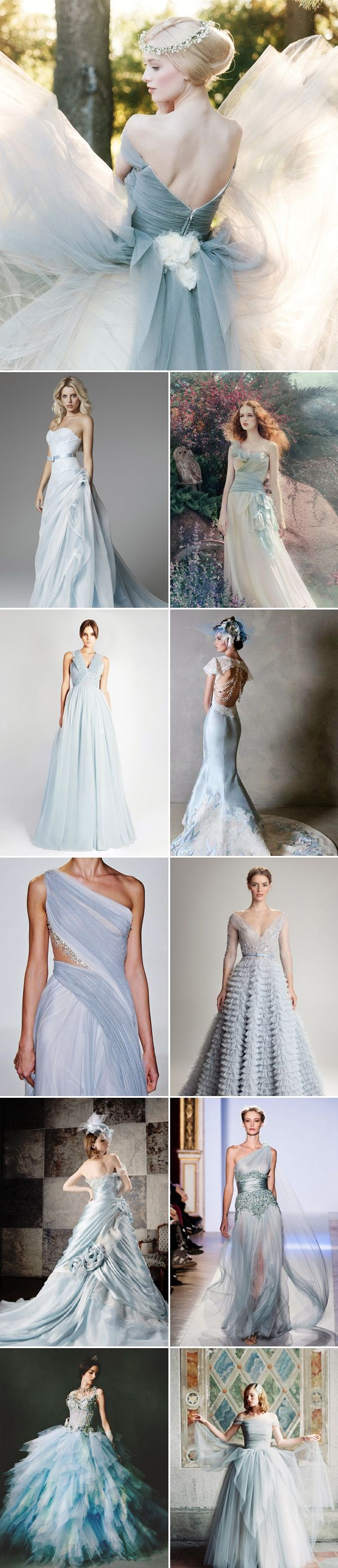 35 Colored Wedding Dresses with a touch of Glam - Dusty Blue