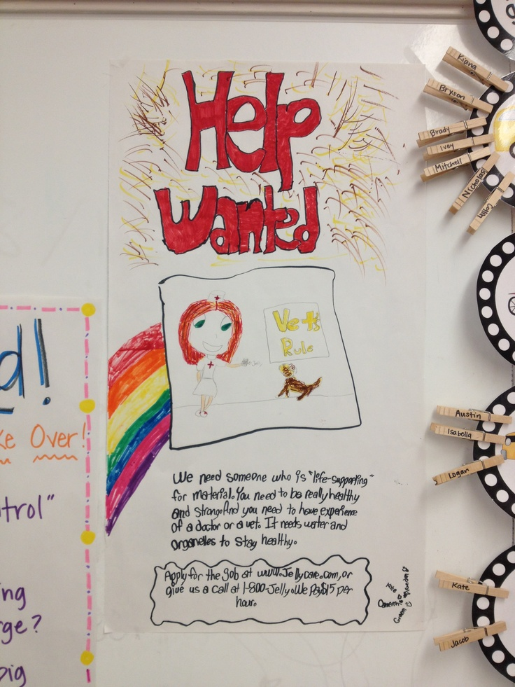 """Cell Organelle """"help wanted"""" signs. Good group assessment"""