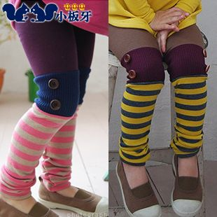2013 korean version of the new autumn baby child striped button stitching girls leggings long pants 5278 only $6.52USD a Piece