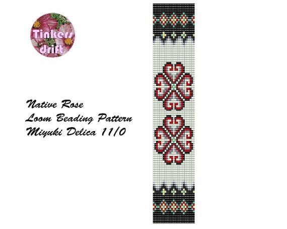 Native Rose Loom Beading Bracelet Pattern by TinkersDrift on Etsy