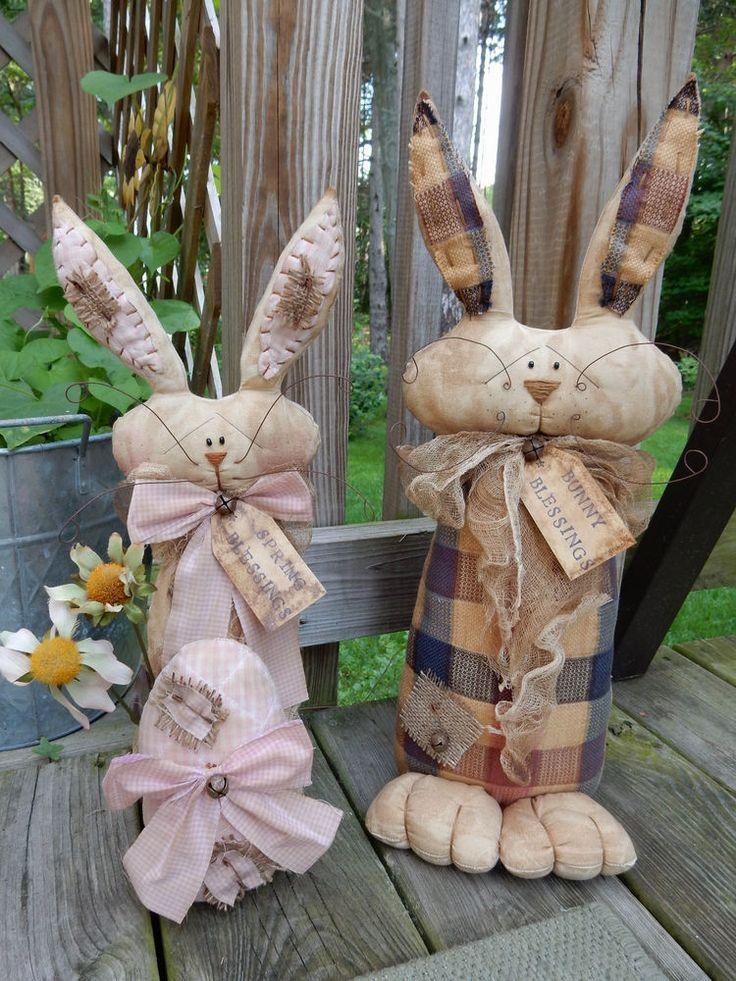 2 FOLK Art PrimiTive GruNgy Country Raggedy Bunny RABBIT DOLLs Decoration Tag