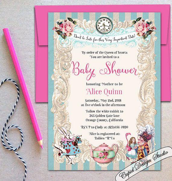73 best alice in wonderland baby shower images on pinterest, Baby shower invitations