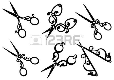 Set of retro scissors Stock Vector