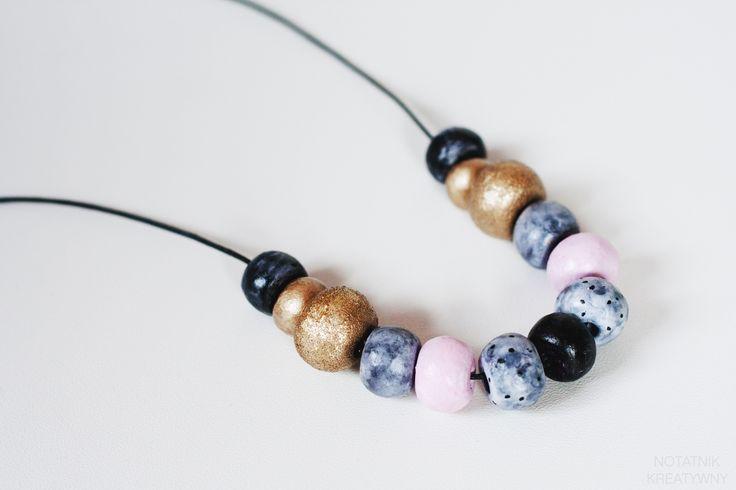 Korale z gliny schnącej na powietrzu #diy #biżuteria #korale #jewelrymaking #jewellery #beads