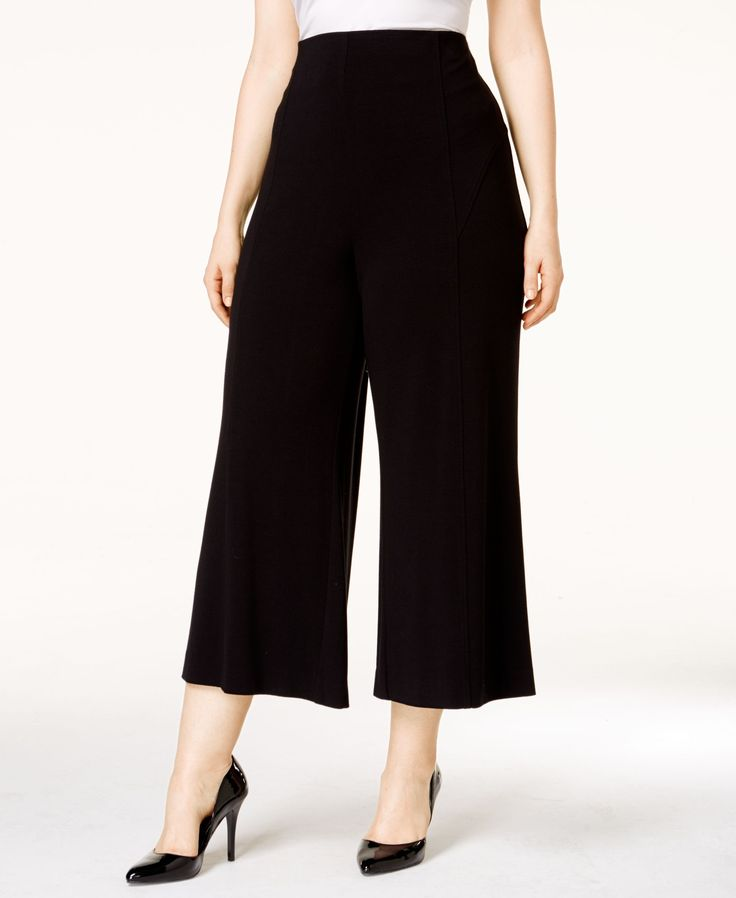 Alfani Plus Size Pull-On Wide-Leg Culotte Pants, Only at Macy's