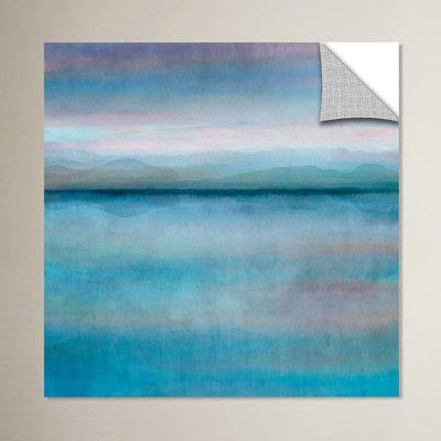 "Zipcode Design Mirror Lake Scape Aqua Painting Print Size: 14"" H x 14"" W x 0.1"" D"