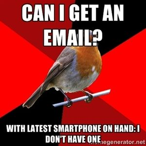 Can I get an email?  With latest smartphone on hand: I don't have one | Retail Robin