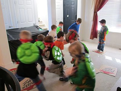 """TMNT Birthday party! Great party ideas!! Love that they used vegetable trays from the dollar store for their """"shells!"""""""