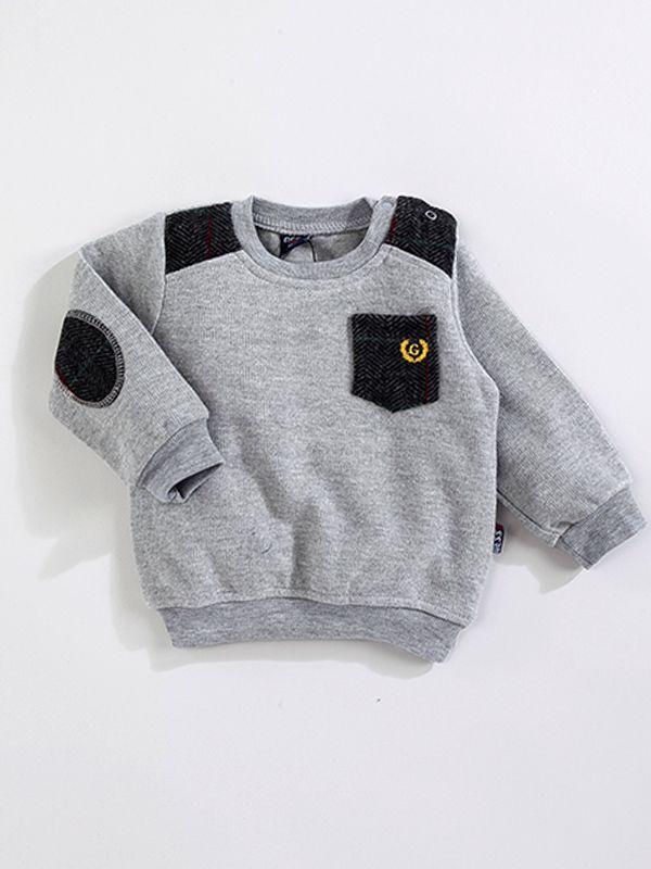 Gess  Kaşe Cep Baskılı Erkek Sweatshirt-Gri