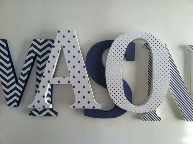 Wooden letters for nursery in navy blue by SummerOlivias on Etsy