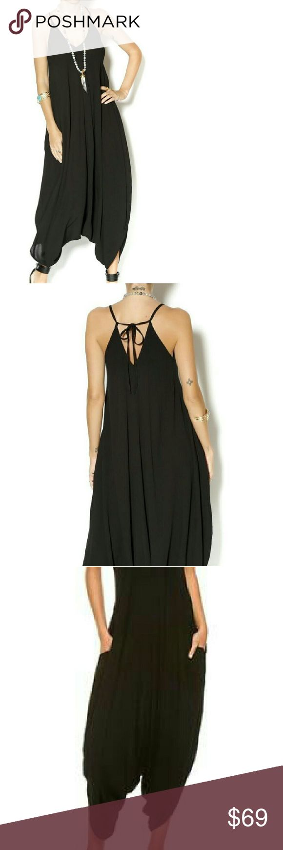 Elan Black Jumpsuit Harem Romper S M L Flowy, sexy jumpsuit with adjustable tie straps in back & sidepockets, available in Size S, M or L!  Also available in white & in multi-color with tribal/Aztec pattern.    Bundle & Save! :) Elan Other