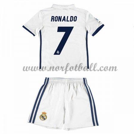 Billige Fotballdrakter Real Madrid 2016-17 Ronaldo 7 Barn Hjemme Draktsett Kortermet