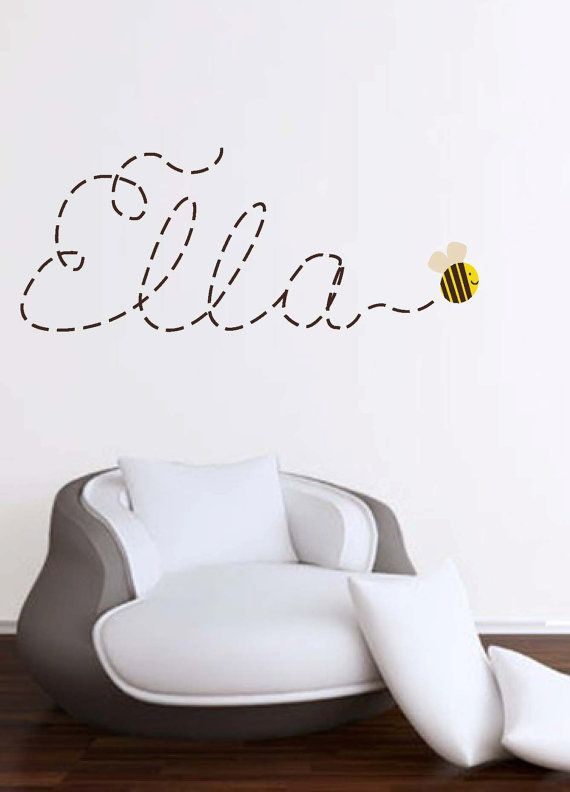Buzzing around Name with Bee wall decal by XpressionsThatStick, $48.00.... or embroidered on blanket?