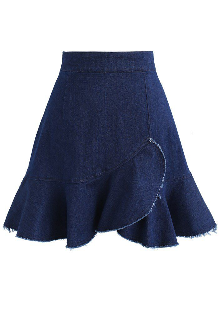 Nifty Girl Asymmetric Frill Hem A-line Denim Skirt- New Arrivals - Retro, Indie and Unique Fashion