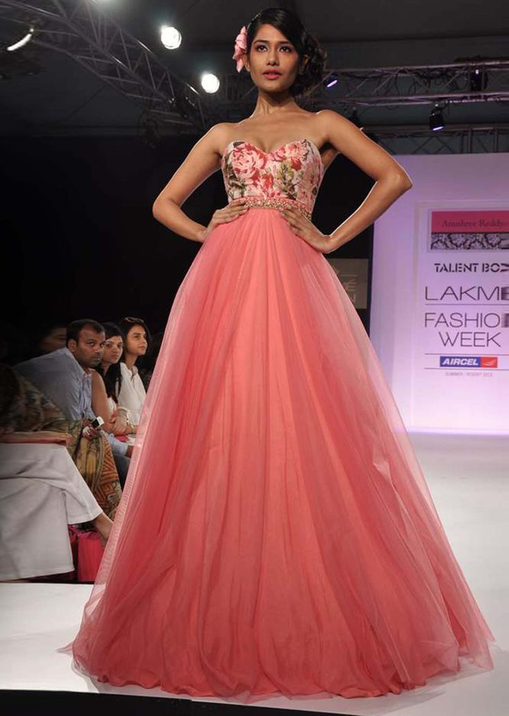 Model in pink strapless gown with printed bodice walks for Anushree Reddy at Lakme Fashion Week 2013 - Kalkifashion.com
