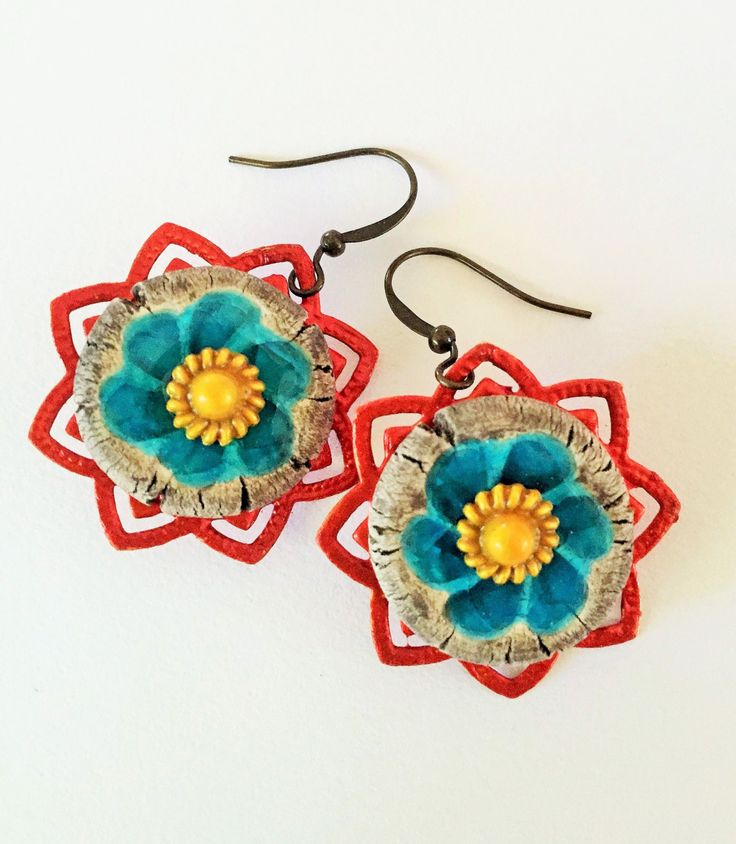 Starburst flower earrings by GreenfishBluefish on Etsy