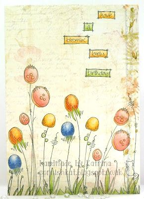 Katrina's Crafting Blog: JOFY stamps onto Prima 'Botanical' patterned paper and coloured with Lyra Rembrandt Polycolor Pencils  #paperartsy #jofy  #stamping #rubberstamping #cardmaking #handmade #card #handmadecards #papercraft