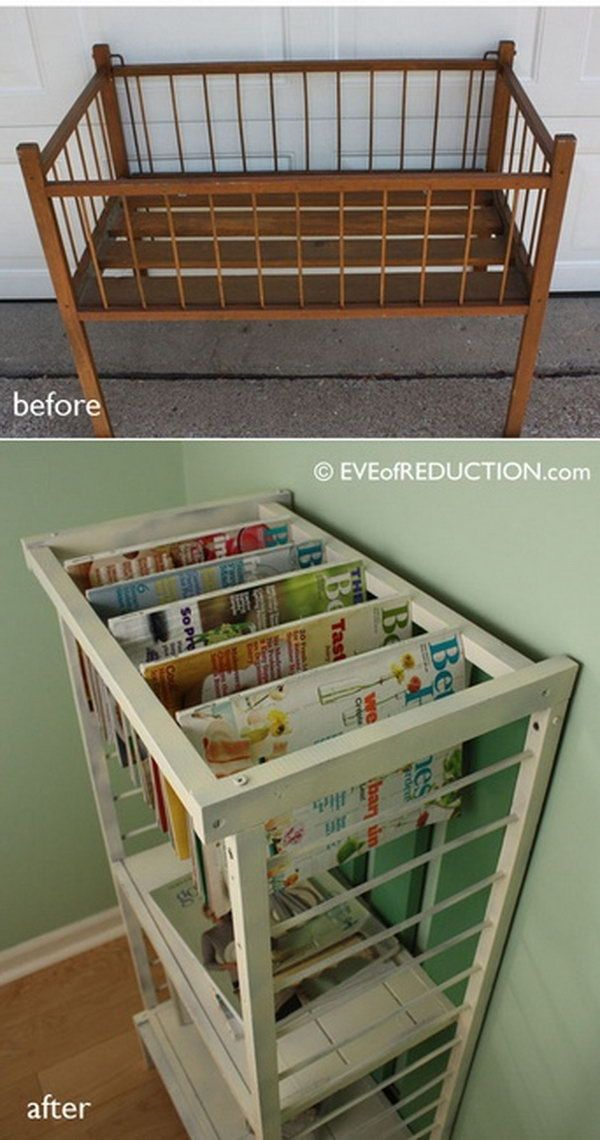 8 newspaper rack from old baby crib                                                                                                                                                                                 More