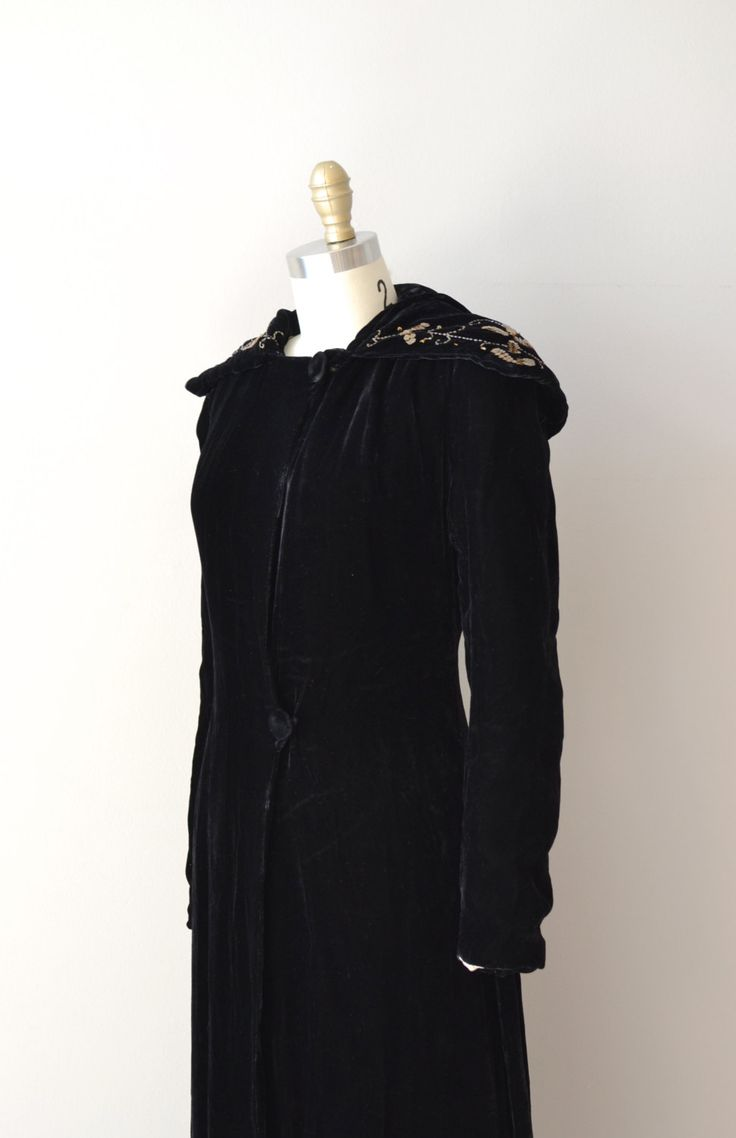 Rossini opera coat / black silk velvet 1930s coat / by DearGolden