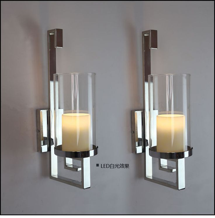 How To Make Wall Sconces For Candles : Candle sconces, Chrome finish and Pillar candles on Pinterest