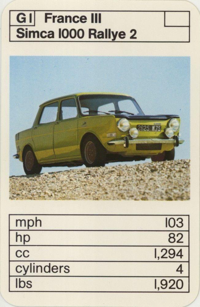 Single Vintage Game Card: Simca 1000 Rallye 2