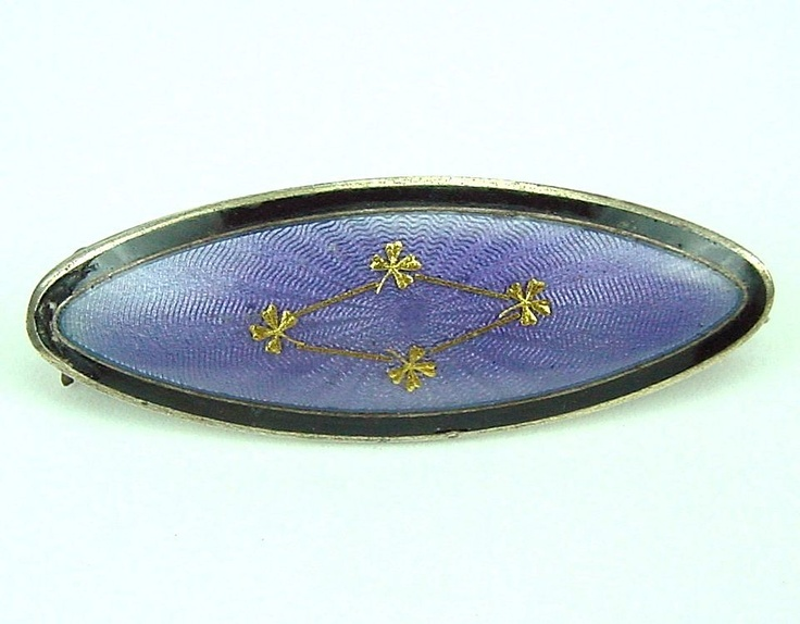 Kristian Hestenes Norway Sterling Purple Guilloche Enamel Brooch from vanishingvintage on Ruby Lane