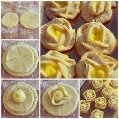 """Rose di pasta frolla ripiene di crema pasticcera """"ricetta facile"""""""
