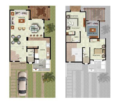 Plano casa dos plantas dos rec maras cosas para mi for Casa de una planta sencilla