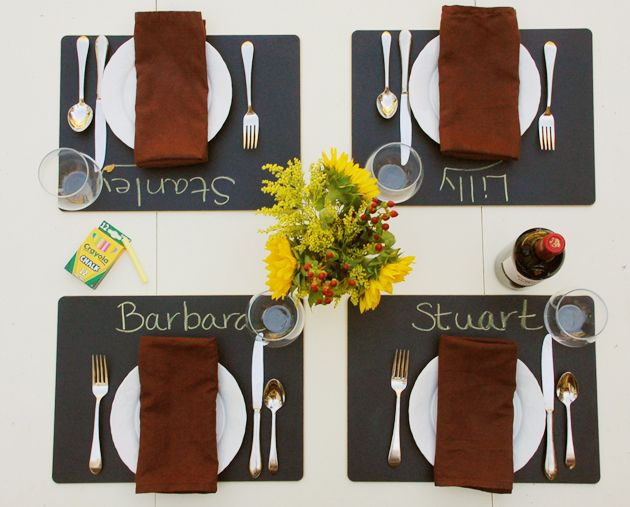 chalkboard placemats, hmmmm, so cute but do I want chalk dust on my table?  Maybe . . .