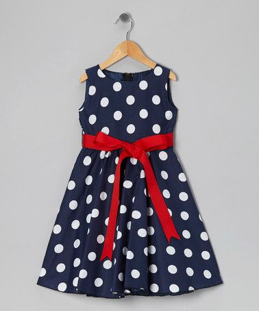 Look what I found on #zulily! Blue Polka Dot Bow Dress - Infant, Toddler & Girls by Kid Fashion #zulilyfinds