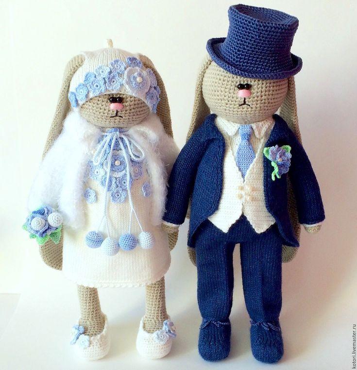 Купить Жених и невеста - комбинированный, невеста, жених, заяц вязаный, заяц в одежде, крючком, спицами