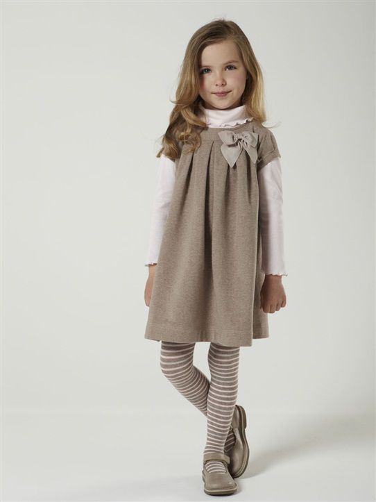 ROBE MANCHES COURTES FILLE TAUPE+GRIS MOYEN CHINE