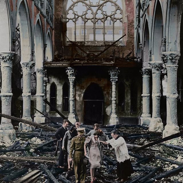 "the_ww2_memoirs A British soldier belonging to the Fusiliers assists his fiancé which is soon to be his wife through the burnt and twisted rubble of the London Catholic Church after it was victim to fire and multiple bombing raids, London, England, 1940. What a wedding story that must've been! The photograph shows the British resilience and ""keep calm and carry on"" attitude of the British citizens during the ""Blitz."" When the Germans first began their bombing campaigns they bombed…"