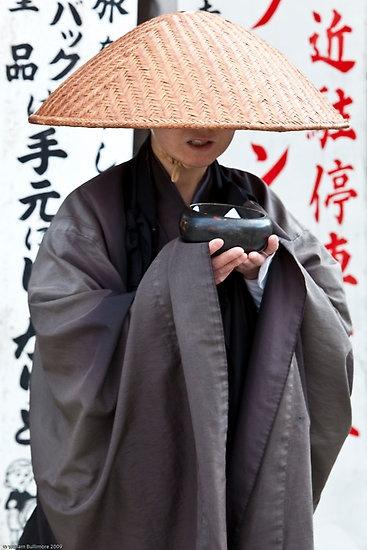 Buddhist monk at Kiyomizu temple, Kyoto, Japan