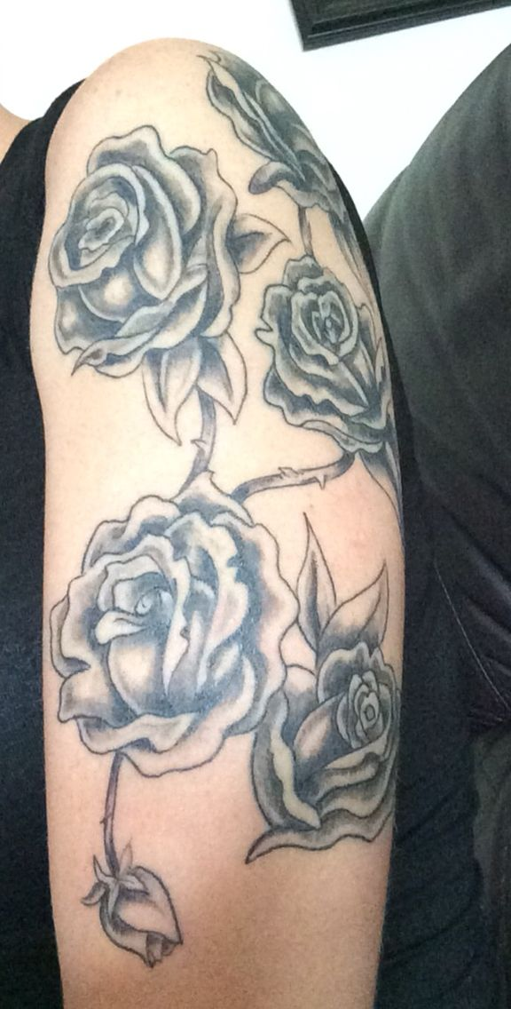 My newest tattoo, beginning my sleeve.  I want to add selective color and the birth flowers of my daughters. #tattooaddiction