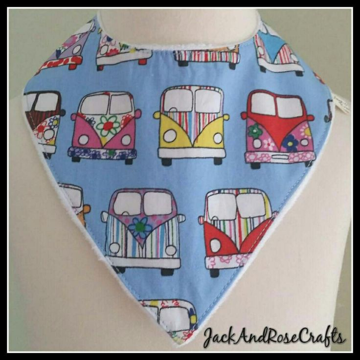 Cool campervan dribble bib available in 5 colours.