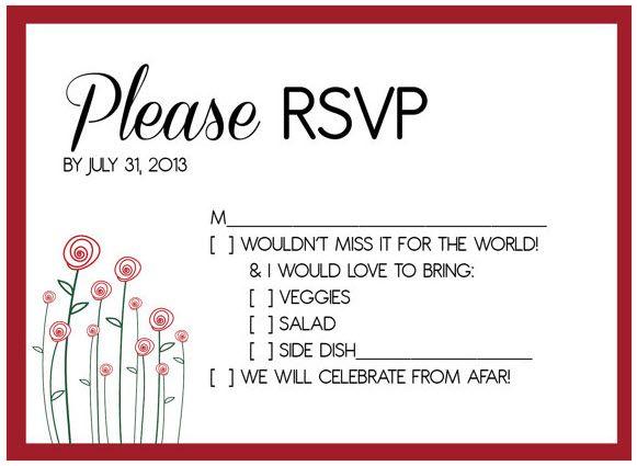 Potluck Wedding Reception RSVP