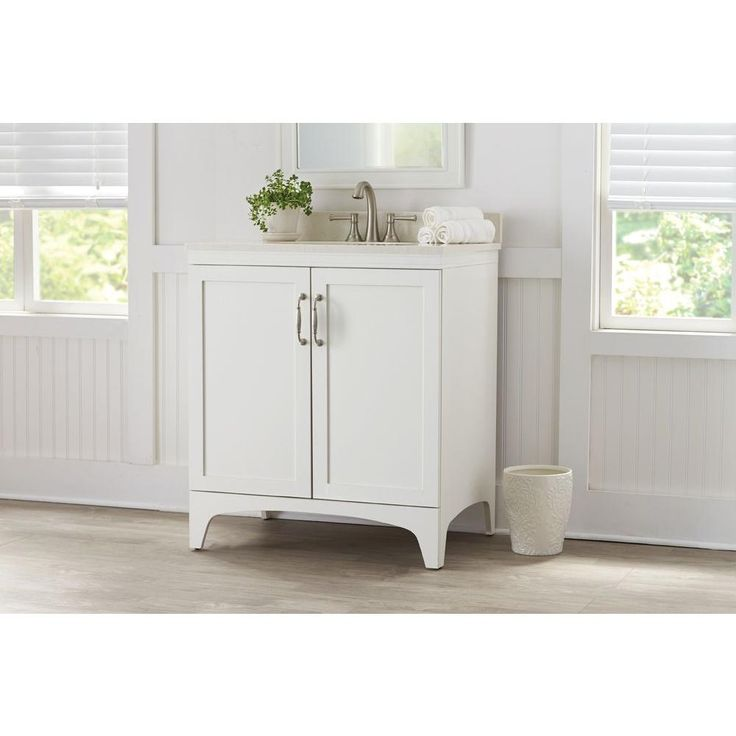 Images Photos Vanity in Ivory with Quartz Vanity Top in White Birch D