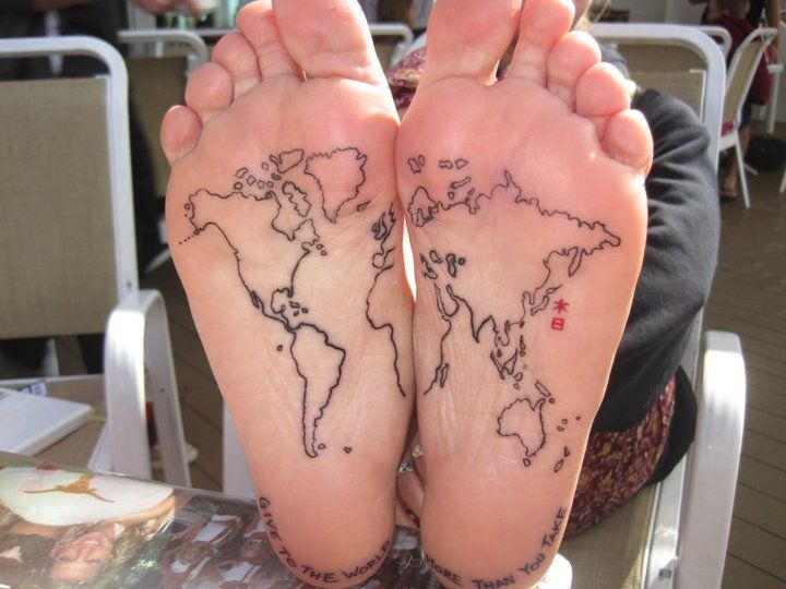 """This is a fantastic foot #tattoo. Love the kanji for """"nippon"""" {Japon}, and the statement around the heels as well.: Tattoo Ideas, First Tattoo, Feet Tattoo, Tattoo'S, A Tattoo, World Maps Tattoo, The World, World Travel, White Ink"""