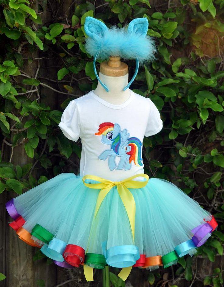 Rainbow Dash Aqua Rainbow Birthday Elegance Birthday Halloween Tutu Set