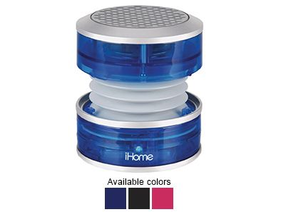 Bring the party with you anywhere you go with the iHome Portable Rechargeable Mini Speaker! It uses an ingenious vacuum bass to deliver big sound, but collapses for easy, lightweight travel when you're ready to hit the road!