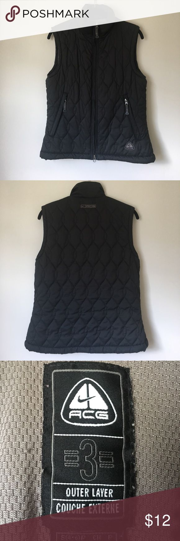 Nike ACG vest Nike vest. Has zippers on shoulders to attach sleeves but no longer has the sleeves. Still a great vest! Has a lot of life left! Nike ACG Jackets & Coats Vests