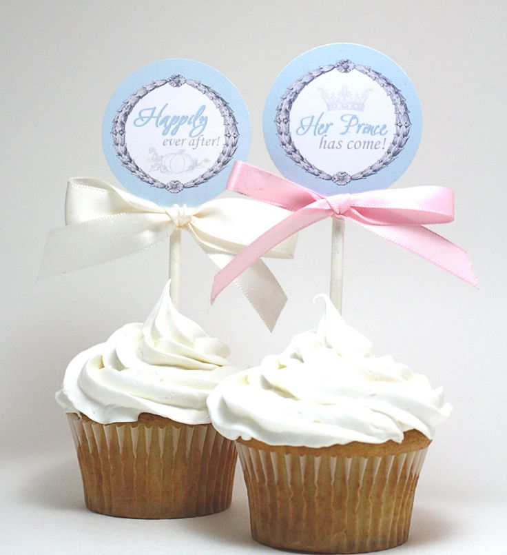 cinderella bridal shower | CINDERELLA Bridal Shower Cupcake Toppers by ConfettiPrintsShop