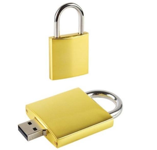 Gold and silver padlock USB flash drive