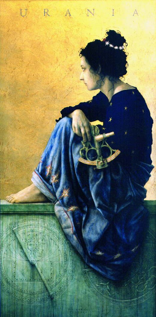 "JOSE LUIS MUÑOZ LUQUE, Nacido en Córdoba (España) en 1969: ""URANIA"", grafito, acrílico, pan de oro y óleo sobre madera 65x130 cm"