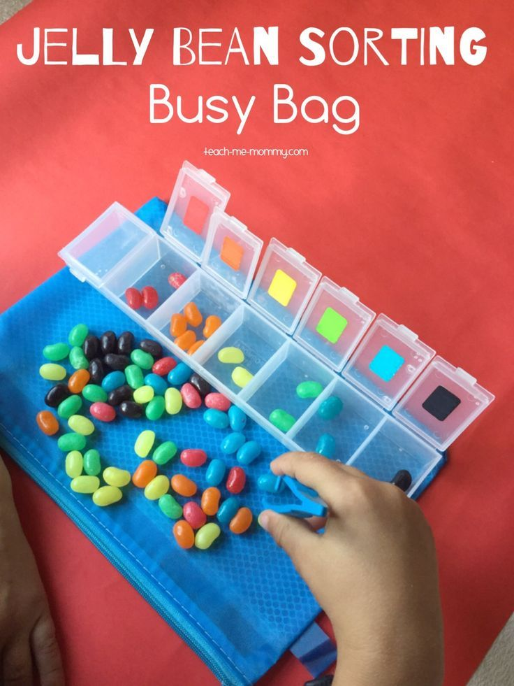 Colourful jelly bean sorting Busy Bag idea!