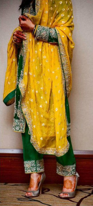 mehndi ceremony outfit yellow & green