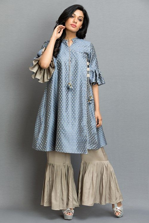 b70514f408 Indo Western, Set Of Brocade Top With Pleated Pant | kurti bord ...